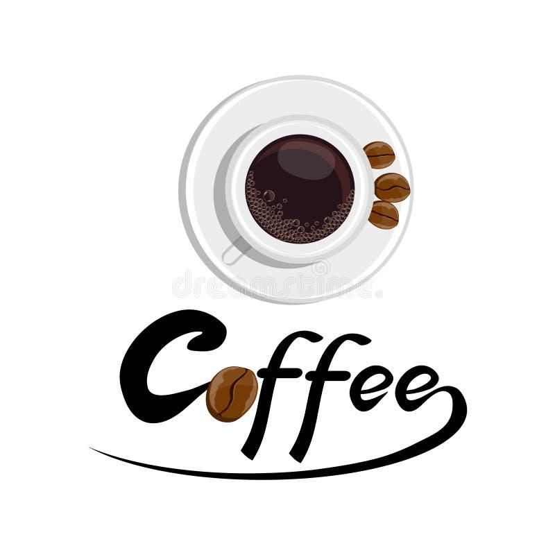 Filiżanka kawy z fasolami royalty ilustracja