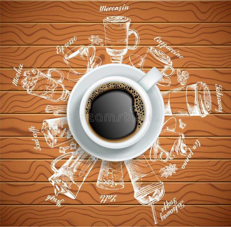 Filiżanka kawy z kawą pije wektorową kreatywnie ilustrację royalty ilustracja