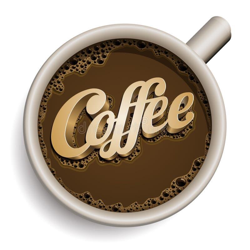 Filiżanka kawy z Kawowym tekstem. ilustracja wektor