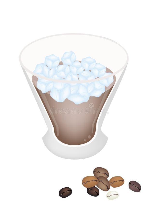 Filiżanka kawy z kostką lodu royalty ilustracja