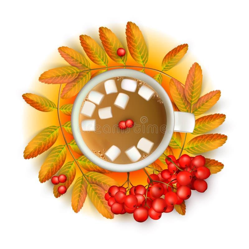 Filiżanka kawy z marshmallow z realistycznym 3d siatki rowan rozgałęzia się z ashberry na pomarańczowym tle wektor royalty ilustracja