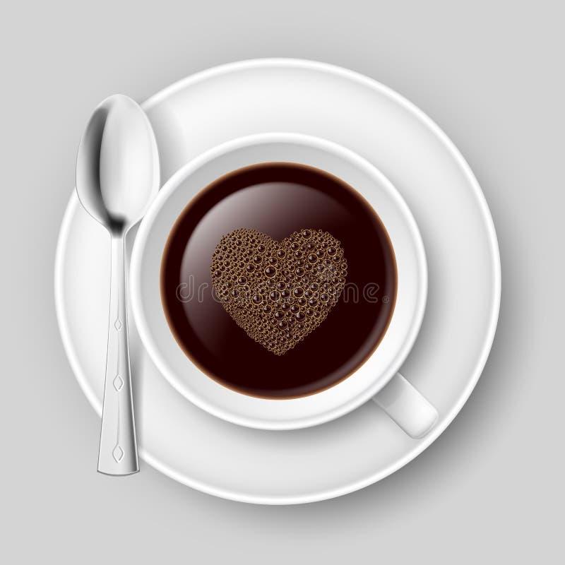 Filiżanka kawy z sercem. ilustracji