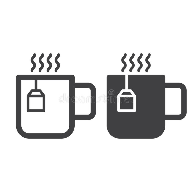 Filiżanka kreskowa herbata, stała ikona, kontur i piktogram odizolowywający na bielu, wypełniający wektoru znaka, liniowego i peł ilustracji