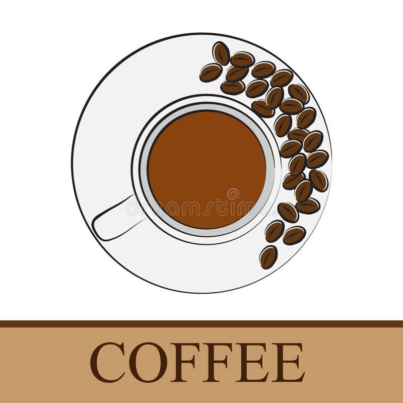 Filiżanka na spodeczku z kawowymi fasolami ilustracji