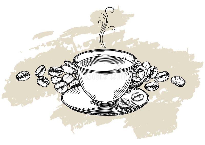 Filiżanka na tle z kawowymi fasolami ilustracji
