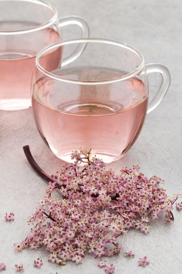 Filiżanka różowa elderberry okwitnięcia herbata zdjęcia stock