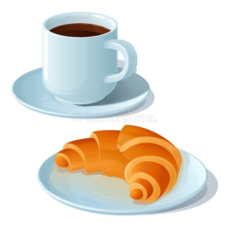 Filiżanka silna czarna kawa i croissant na białym porcelana spodeczku royalty ilustracja