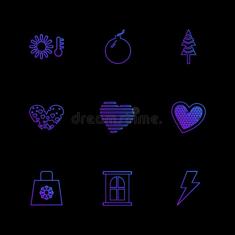 filiżanka, torba, flaga, serca, kamera, pupil, flaga, eps ico ilustracji