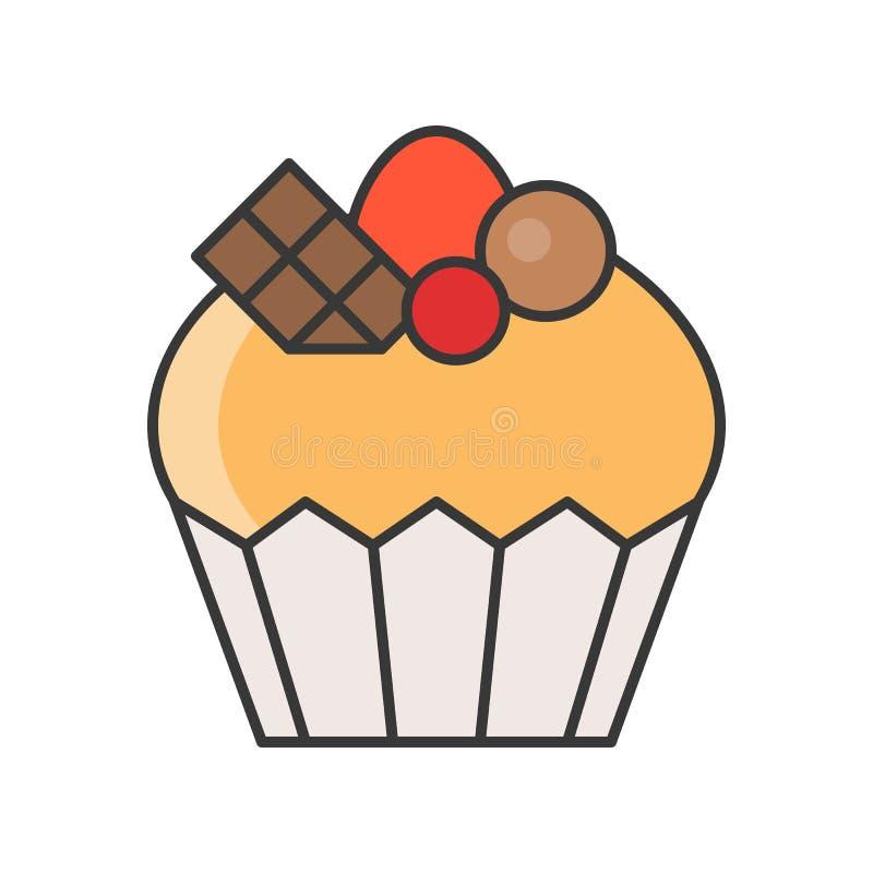 Filiżanka tort cukierki i ciasto set, wypełniał kontur ikonę ilustracja wektor
