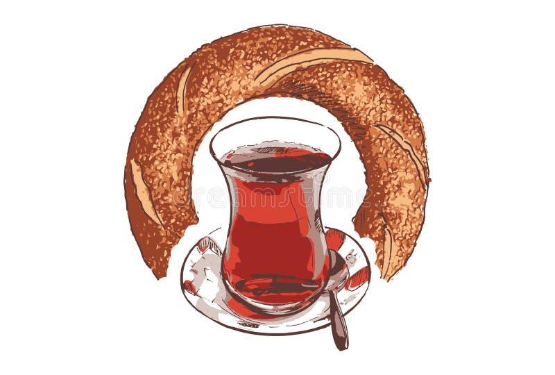 Filiżanka Turecka czarna herbata i bagel ilustracja wektor