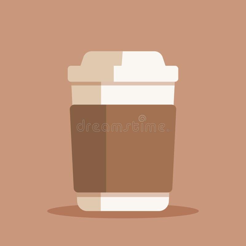 Filiżanka wektoru ilustracja Klingerytu lub papieru kawa lub herbaciana filiżanka w mieszkanie stylu royalty ilustracja