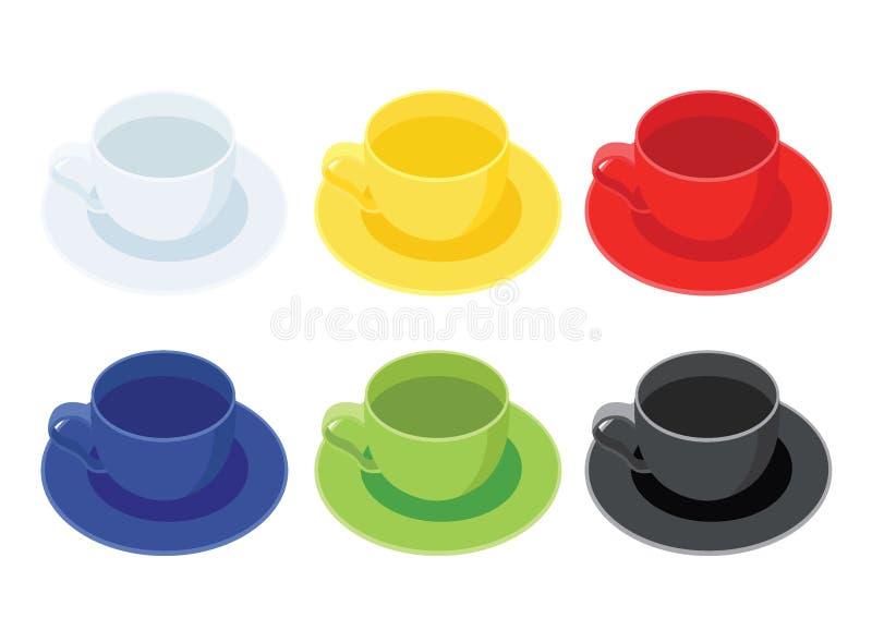 Filiżanka Wielo- kolor i Wiele filiżanek Wielo- koloru Biała żółta czerwona błękitna zieleń czernimy ilustracji