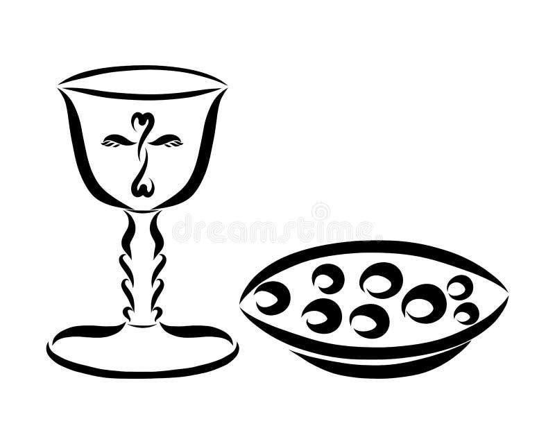Filiżanka wino i chleb dla eucharystii royalty ilustracja