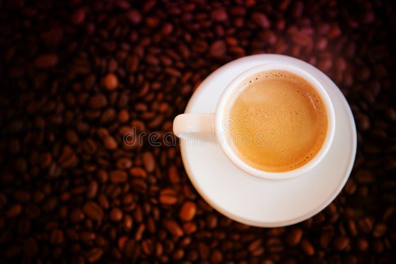 Filiżanka z świeżo warzyć kawowymi i całymi kawowymi fasolami obraz stock