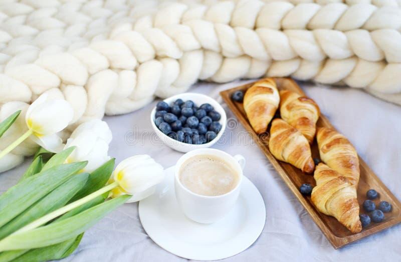 Filiżanka z cappuccino i croissants, jagody, biała pastelowa gigantyczna dzianiny koc zdjęcie stock