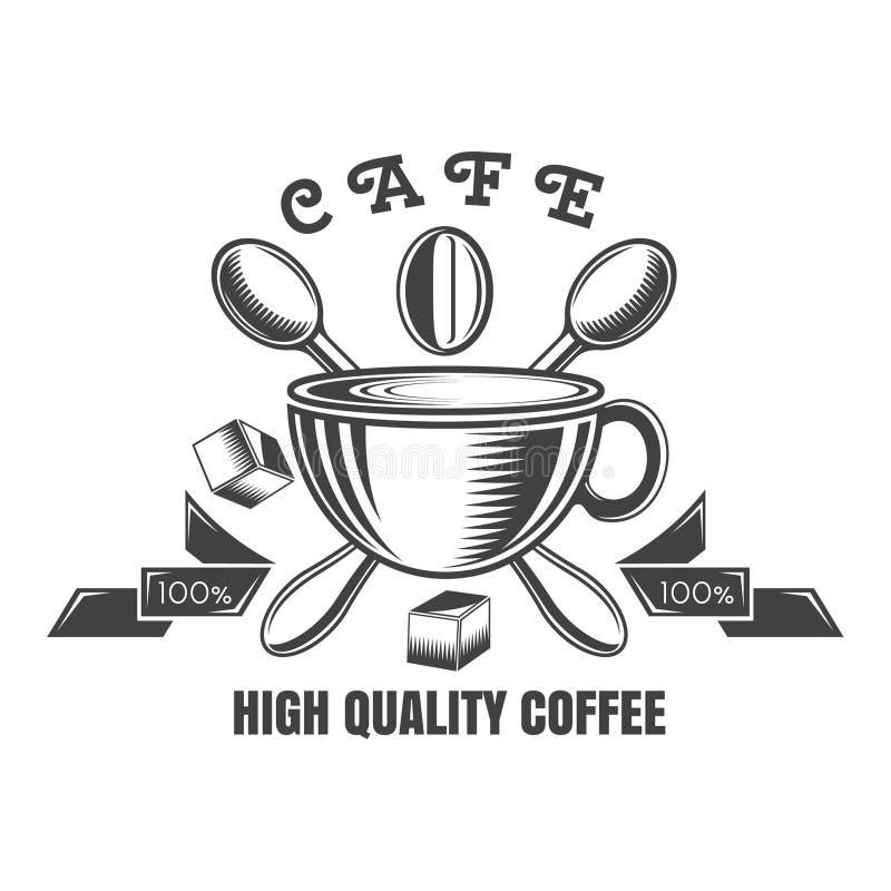 Filiżanka z faborkami i krzyż łyżkami Logo dla kawiarni, teahouse, kawa dom royalty ilustracja