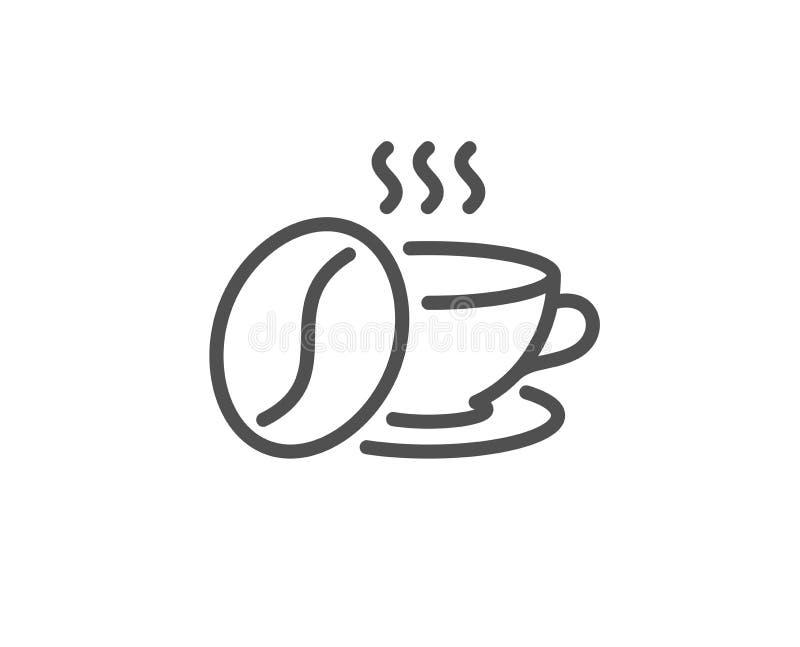 Filiżanka z fasoli kreskową ikoną Gor?cy cappuccino znak Herbaciany napoju kubek wektor royalty ilustracja