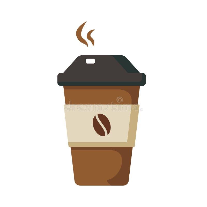 Filiżanka z gorącą kawą w mieszkanie stylu ilustracji