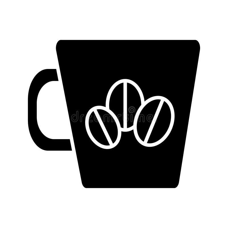 Filiżanka z kawowych fasoli ikoną, wektorowa ilustracja, czerń znak na odosobnionym tle ilustracji