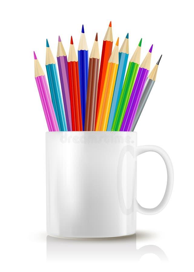 Filiżanka z kolorów ołówkami royalty ilustracja