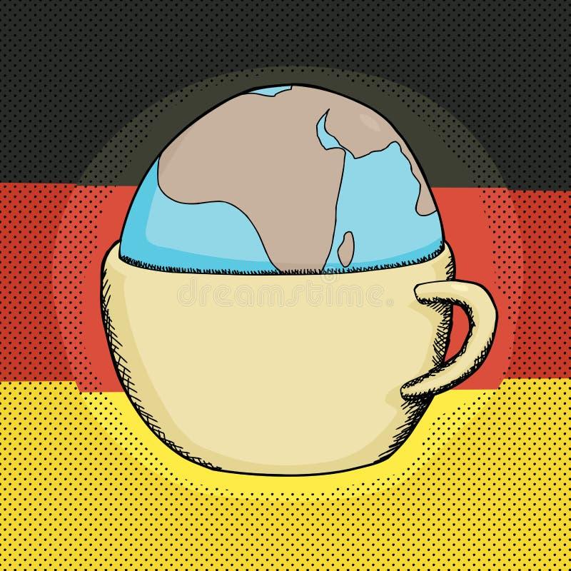 Filiżanka z kulą ziemską i niemiec flaga ilustracja wektor