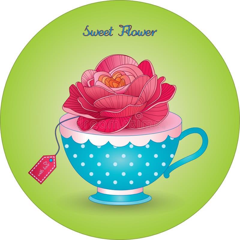 filiżanka z kwiatem Ładnym wzrastał zdjęcie stock