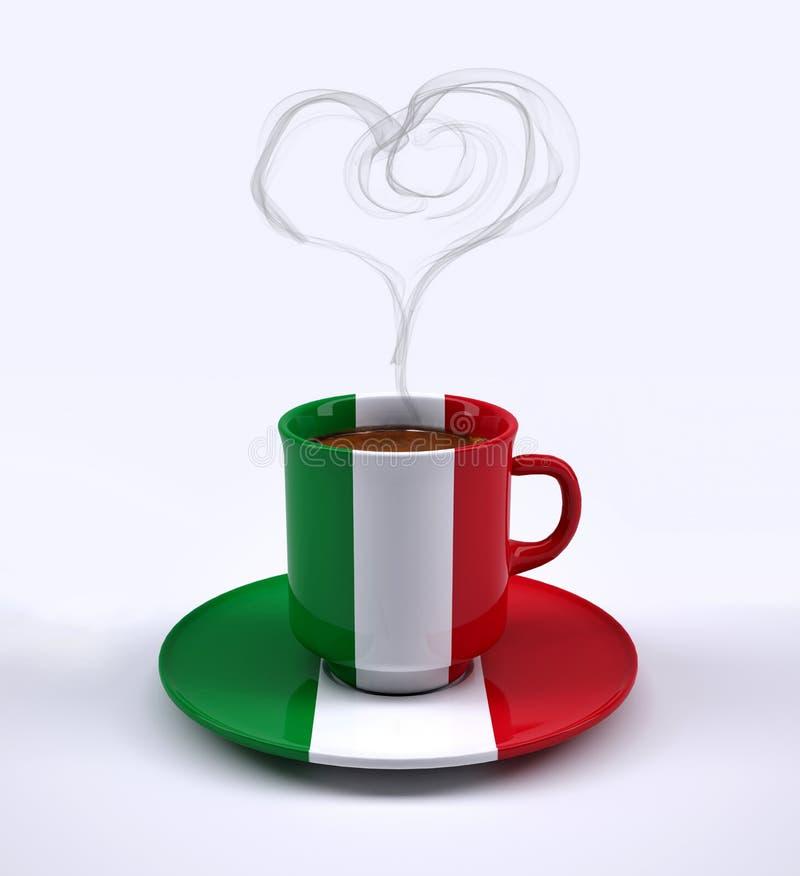Filiżanka z Włochy flaga i serce dymem ilustracja wektor