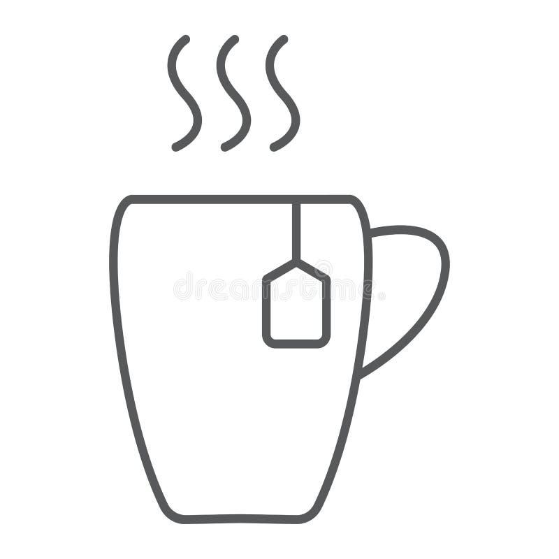 Filiżanki cienka kreskowa ikona, jedzenie i napój, gorący herbata znak, wektorowe grafika, liniowy wzór na białym tle royalty ilustracja