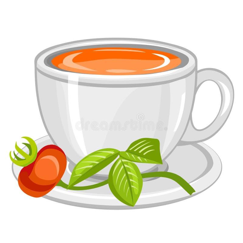 filiżanki dogrose herbata ilustracji