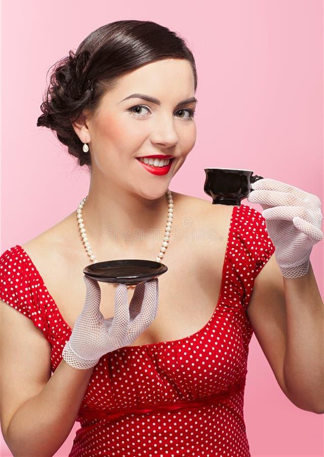 filiżanki dziewczyny herbata fotografia royalty free