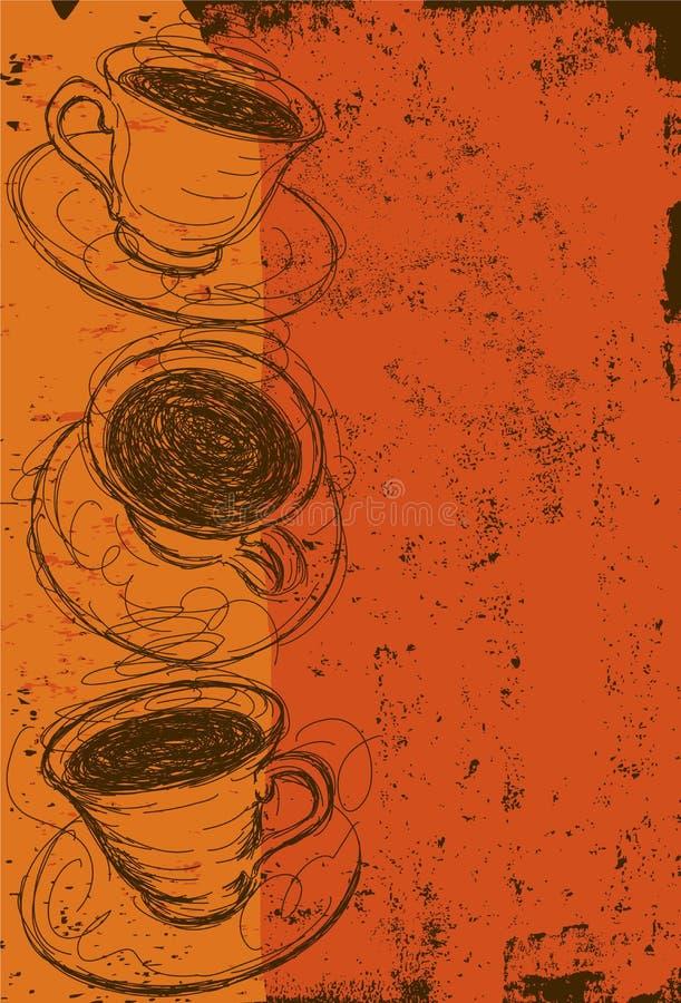 filiżanki filiżanek marzycielski ostrości przód fotografii przyglądającą miękką część ilustracja wektor