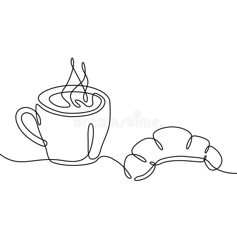Filiżanki i croissant ciągły jeden kreskowy rysunek Czarny i biały wektorowa ilustracja royalty ilustracja