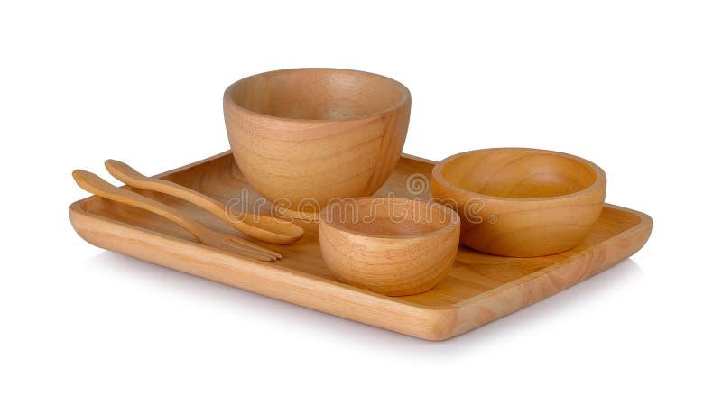 Filiżanki i drewniane łyżki na białym tle obrazy stock