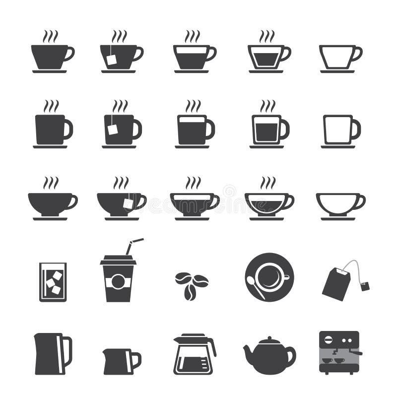 Filiżanki i Herbacianej filiżanki ikony set ilustracja wektor