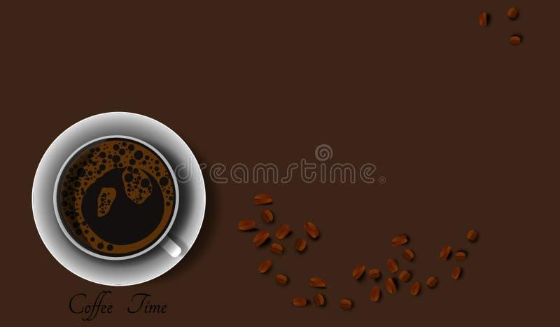 Filiżanki i kawowej fasoli realistyczny styl, wektor ilustracji