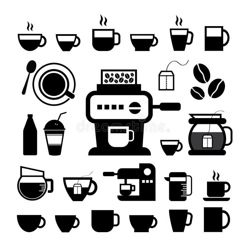 Filiżanki i kawy ikony set ilustracji