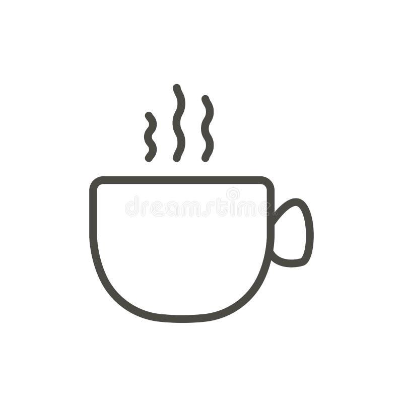 Filiżanki ikony wektor Konturu gorący napój Kreskowy filiżanka symbol ilustracja wektor