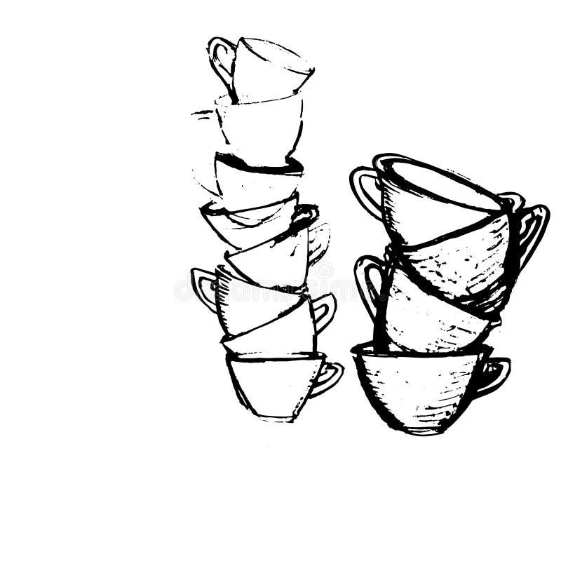 Filiżanki ikony wektorowy projekt ilustracja wektor