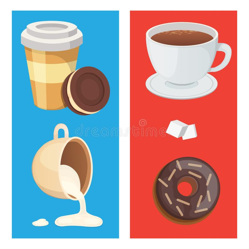 Filiżanki kawy, cappuccino, latte i czekolady jedzenie, Cukierki dezerteruje czas royalty ilustracja