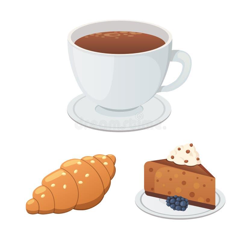 Filiżanki kawy, cappuccino, latte i czekolady jedzenie, Cukierki dezerteruje czas ilustracji