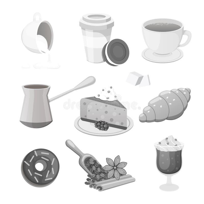 Filiżanki kawy, cappuccino, latte i czekolady jedzenie, Cukierki dezerteruje czas ilustraci wektorowego set ilustracja wektor