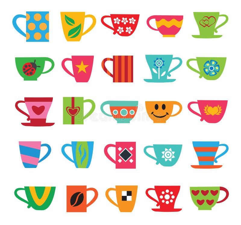 Set kolorowe filiżanki ilustracja wektor