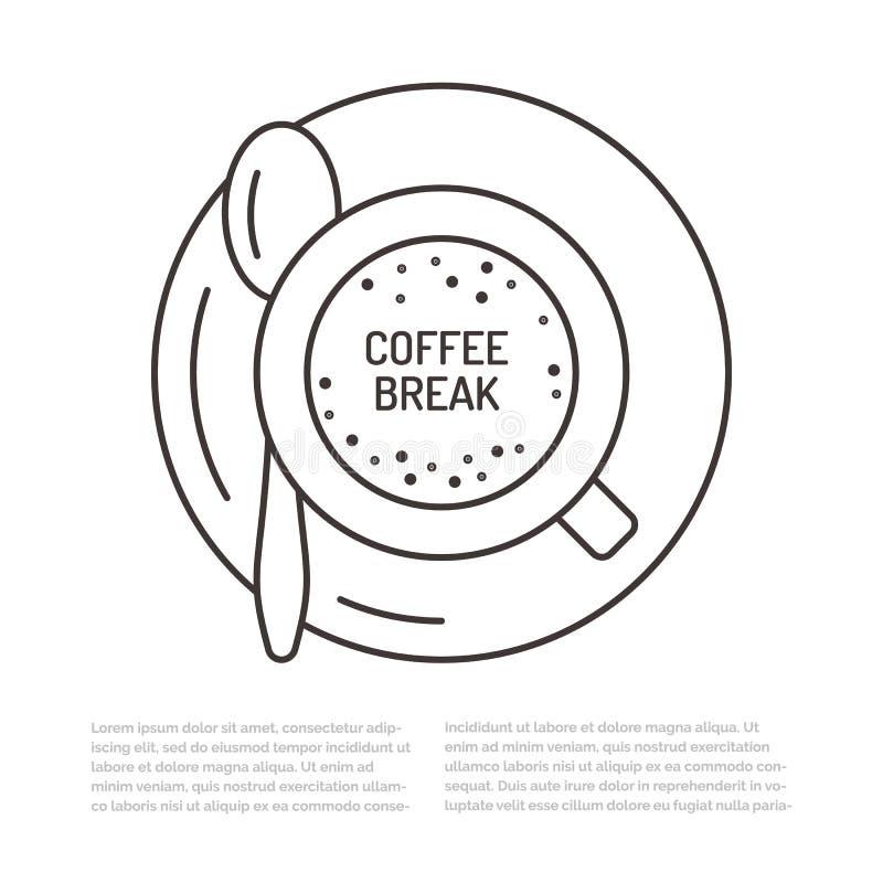 Filiżanki kawy płaska kreskowa ilustracja Kawa espresso napoju odgórnego widoku pojęcie dla cukiernianego menu ilustracja wektor