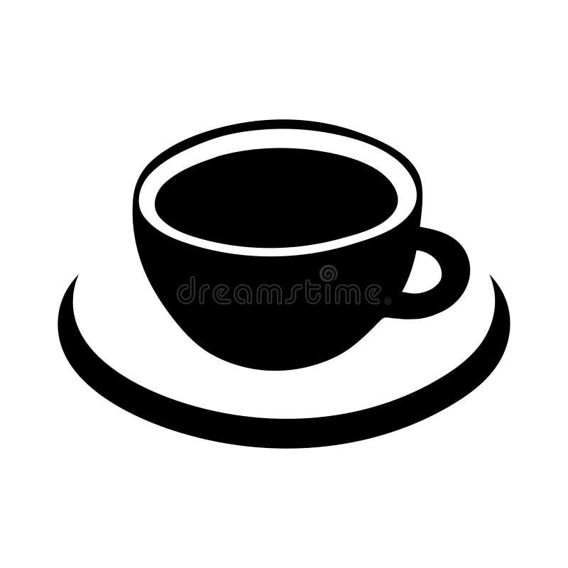 Filiżanki kawy wektorowa ikona, logo, znak, emblemat Czarna filiżanka, abstrakcjonistyczny spodeczek odizolowywający na białym tl royalty ilustracja