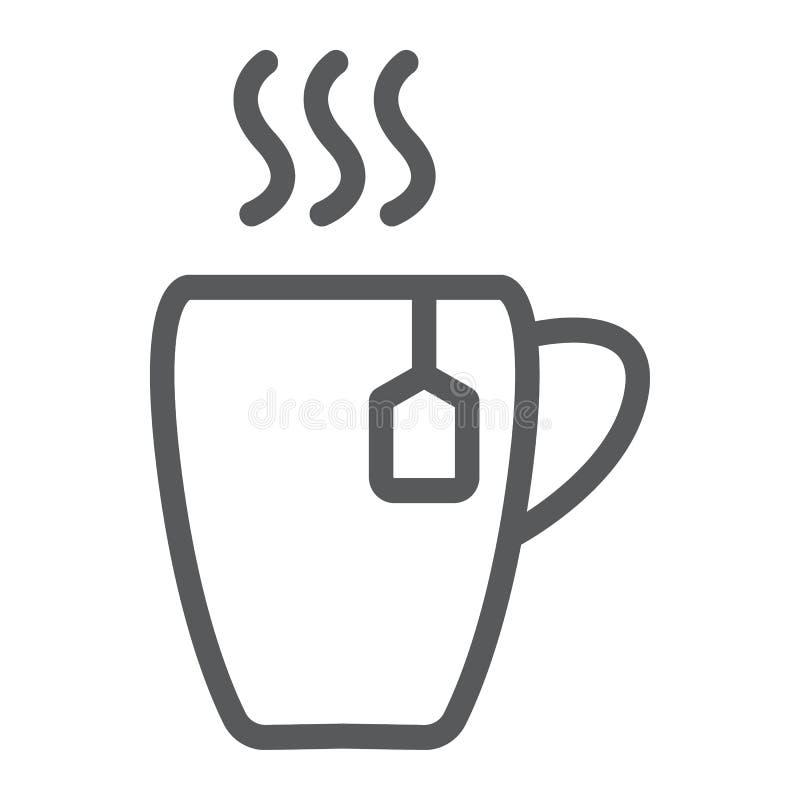 Filiżanki kreskowa ikona, jedzenie i napój, gorący herbata znak, wektorowe grafika, liniowy wzór na białym tle royalty ilustracja