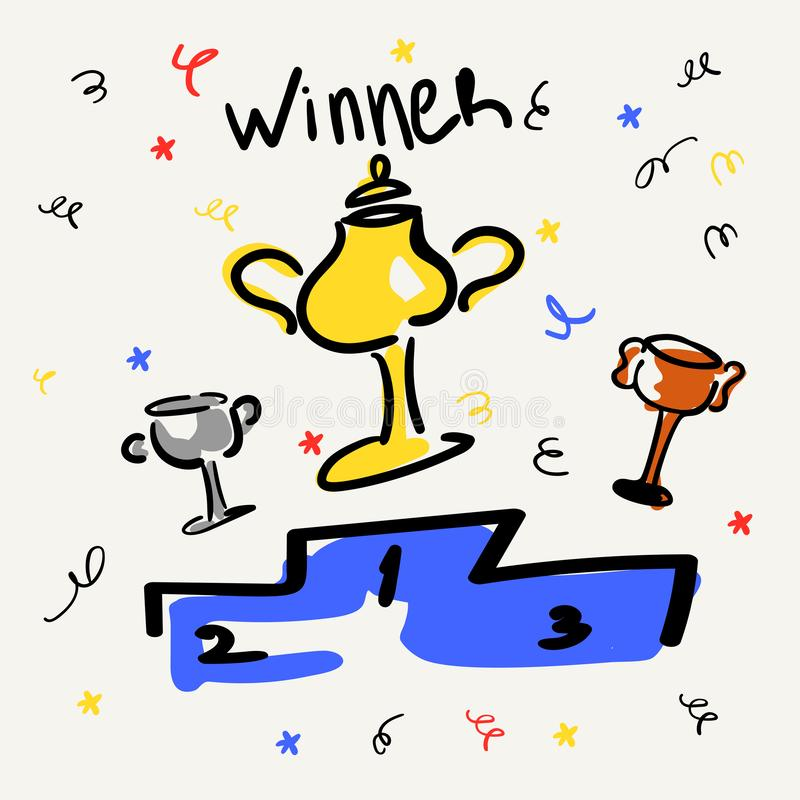 Filiżanki na piedestale z?ota br?zowy srebro Biznesu i sportów zwycięstwa Wektorowa ilustracja w stylu nakreślenia lub ilustracja wektor