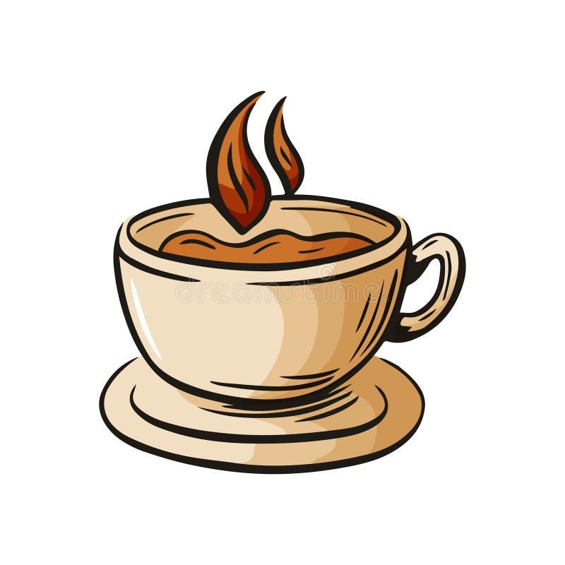 Filiżanki nakreślenia ręka rysujący szkło latte, mokka, milkshake, napoju element dla cukiernianego menu, restauracyjni plakaty l ilustracja wektor