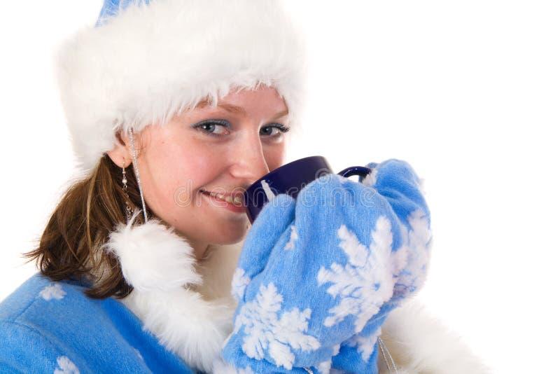 filiżanki szczęśliwy dziewczyny śnieg obrazy stock