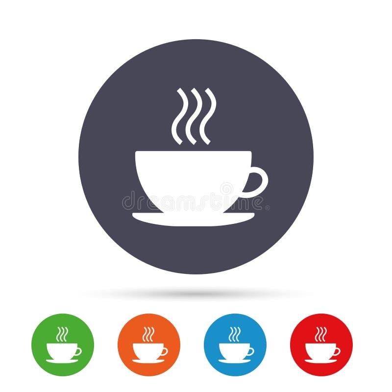 Filiżanki szyldowa ikona Gorący kawowy guzik ilustracji