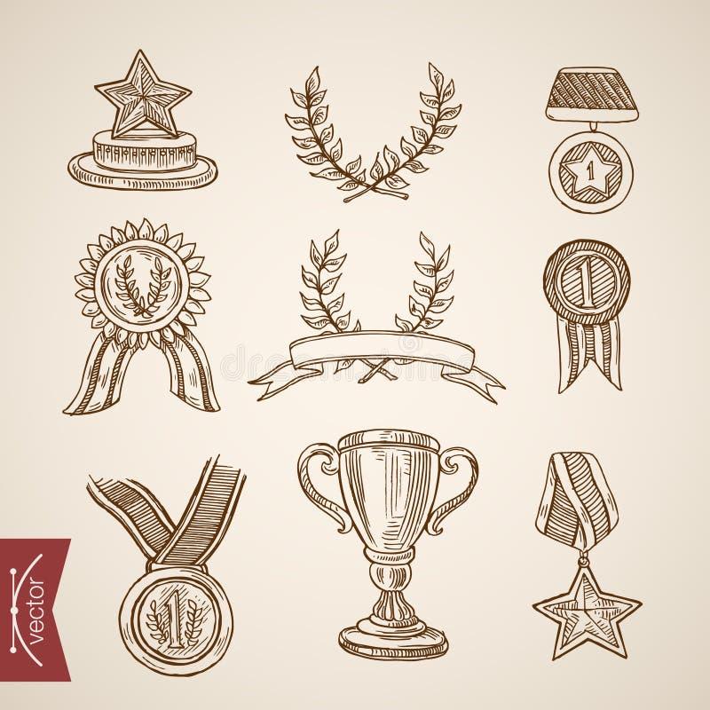 Filiżanki trofeum medalu wygrany zwycięzcy atrybutu rytownictwa rocznika wektor ilustracji